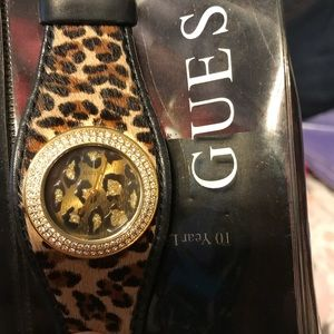 Authentic GUESS cheetah print watch